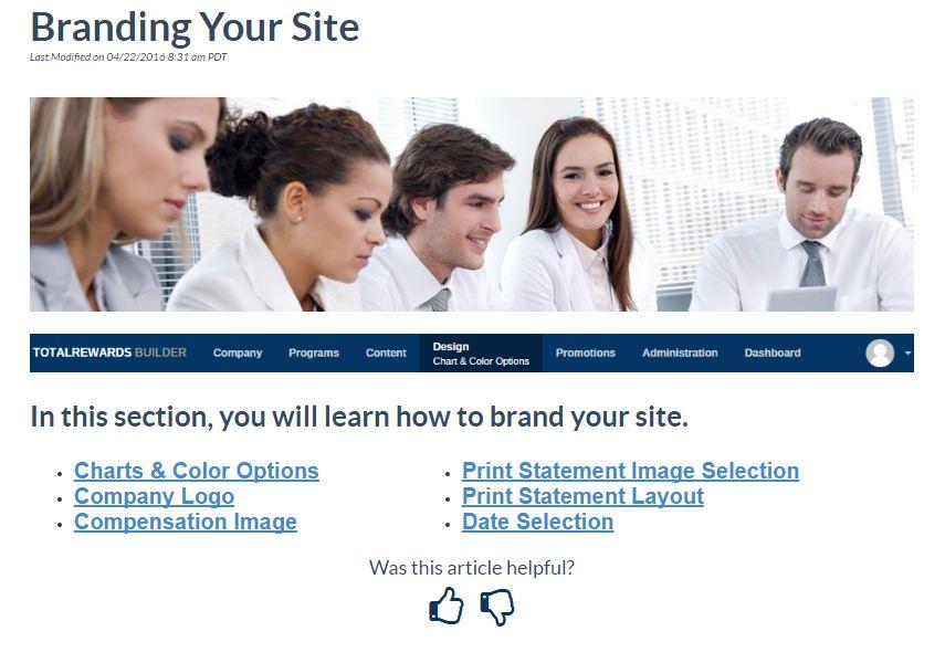 TotalRewards KnowledgeOwl - Branding Your Site